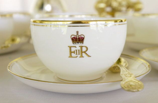 Cup and saucer in the Royal Tea Tent bearing the Queen's cypher. (Photo by Tim Graham/Getty
