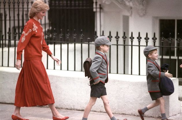 Diana, Princess of Wales following her sons Prince Harry and Prince William, 1989.