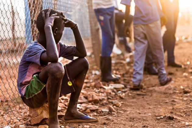 A young boy pictured at a refugee camp on April 2, 2017 in Juba,