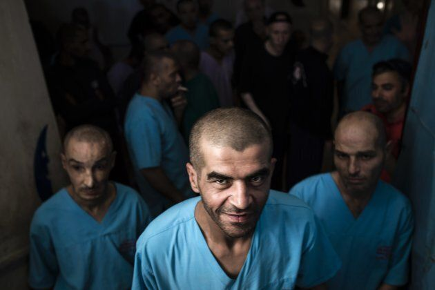 Mentally ill people are seen at a psychiatric hospital at Azez town of Aleppo, Syria on Sept. 11, 2016.