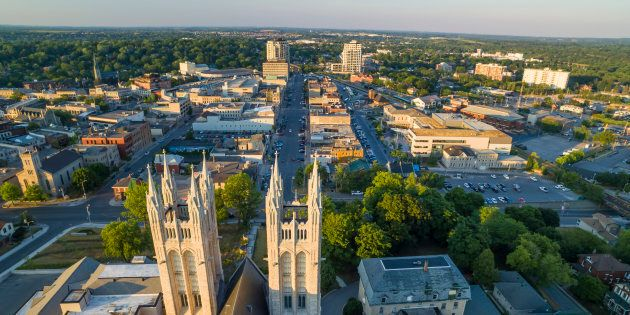 An aerial view of Guelph, Ont., one of the top 10 cities in Canada to find work in the third quarter of this year, according to BMO's Labour Market Report Card.