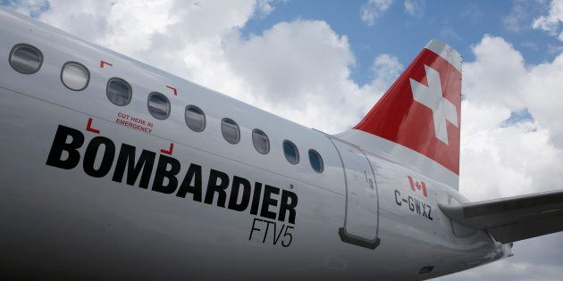 A Bombardier C Series aircraft wearing Swiss Air Lines livery is displayed at the Singapore Airshow,...