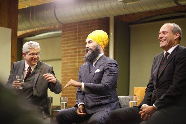 Then a leadership hopeful, Jagmeet Singh speaks at the NDP leadership debate hosted by HuffPost Canada...