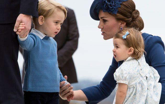Catherine, Duchess of Cambridge, Prince George and Princess Charlotte in Victoria, British Columbia,...