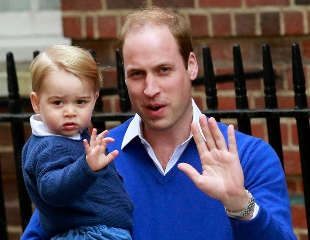 Prince William and his son George to the Lindo Wing of St Mary's Hospital, after the birth of his daughter...