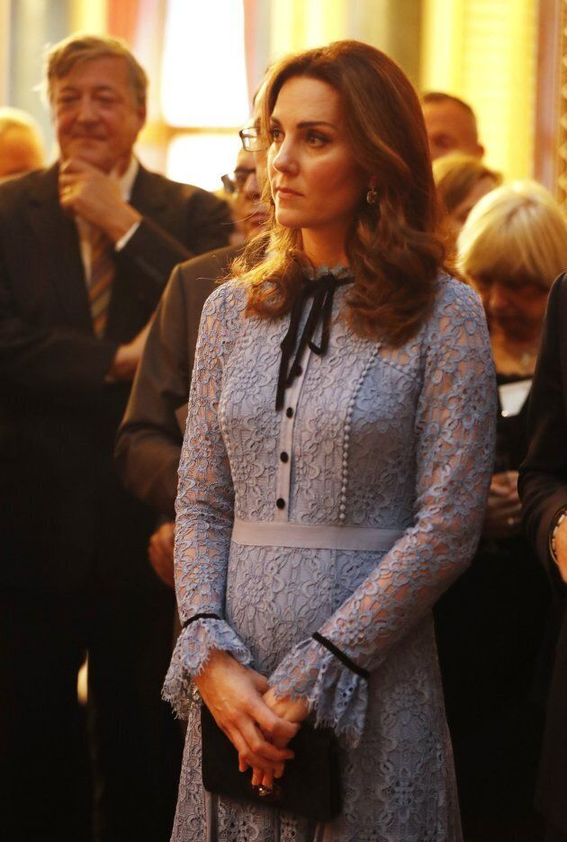 Catherine, Duchess of Cambridge takes part in a reception at Buckingham Palace to celebrate World Mental Health Day in central London on October 10, 2017.