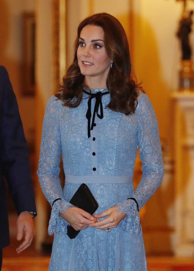 Catherine, Duchess of Cambridge takes part in a reception at Buckingham Palace to celebrate World Mental...