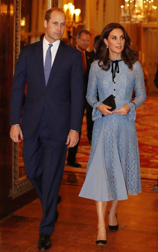 Prince William and Catherine, Duchess of Cambridge take part in a reception at Buckingham Palace to celebrate World Mental Health Day in central London on October 10, 2017.