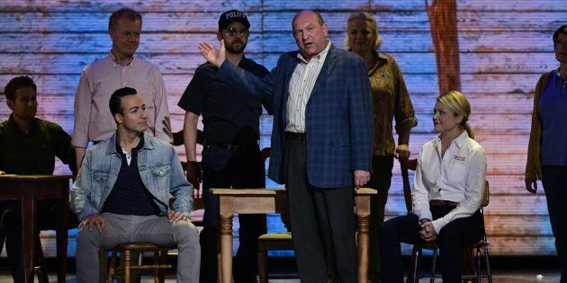 The cast of Come From Away performs at The 71st Annual Tony Awards broadcast live from Radio City Music...