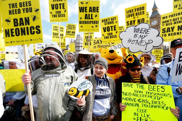 Designer Vivienne Westwood (C), and a person in a Winnie The Pooh costume join campaigners protesting...