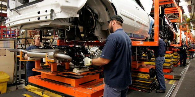 Auto production at the CAMI Automotive facility in Ingersoll, Ontario, Thursday, Dec. 21, 2006. A new...