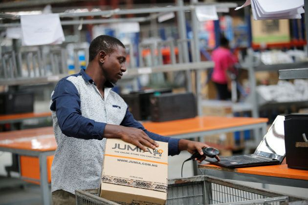 A man works at a warehouse for online retailer Jumia in Ikeja district, Nigeria's commercial