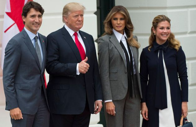 President Donald Trump and First Lady Melania Trump welcome Prime Minister Justin Trudeau and Sophie...