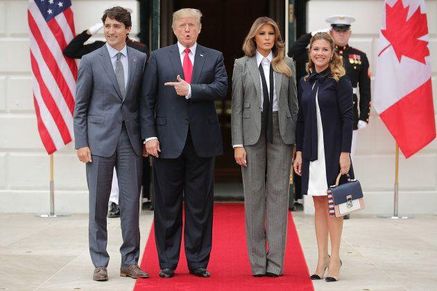 Prime Minister Justin Trudeau, President Donald Trump, First Lady Melania Trump and Sophie Grégoire Trudeau...