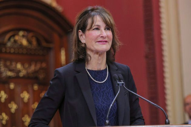 Kathleen Weil is sworn in as minister for relations with anglophones at the National Assembly in Quebec...