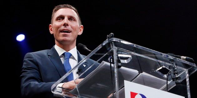 Patrick Brown delivers a speech at the Ontario Progressive Conservative convention in Ottawa on March...