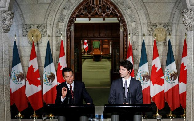 Mexico's President Enrique Pena Nieto speaks during a news conference with Prime Minister Justin Trudeau...