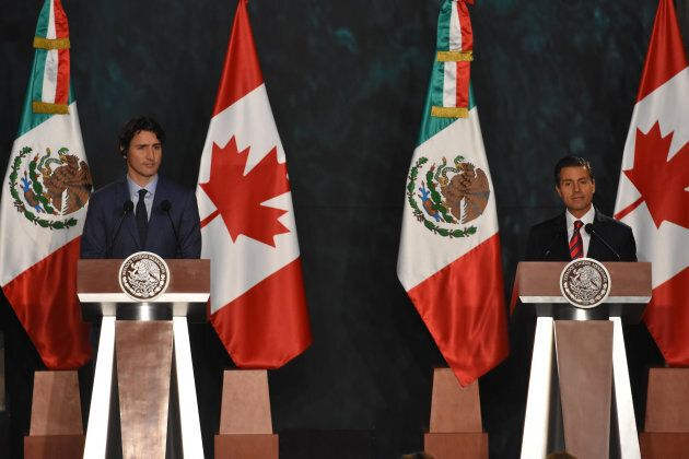 Prime Minister Justin Trudeau and Mexican President Enrique Pena Nieto appear at a press conference at...