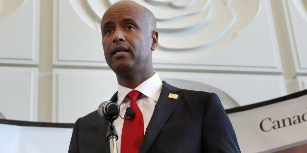 Immigration Minister Ahmed Hussen at Brampton, Ont.'s city hall on Oct. 4, 2017. He condemned an RCMP...