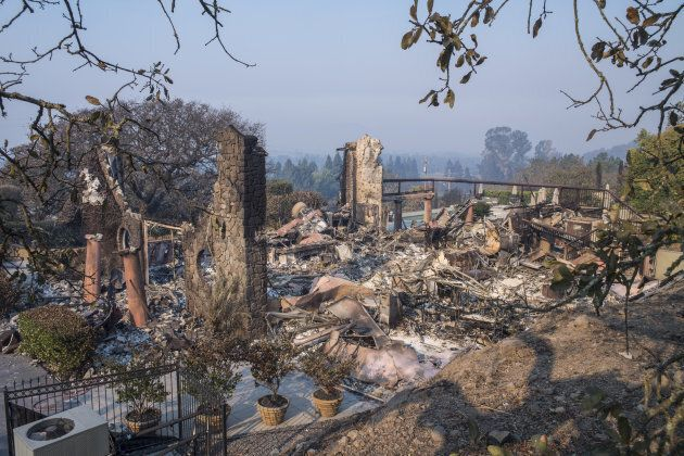 The remains of the tasting room for Signorello Estate winery is seen after being burned by wildfires...