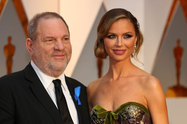 Harvey Weinstein and wife Georgina Chapman ararrive at the 89th Academy Awards in Hollywood, Calif., Feb. 26, 2017.