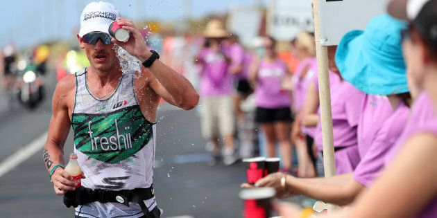 Lionel Sanders of Canada cools down during the IRONMAN World Championship on October 14, 2017 in Kailua...