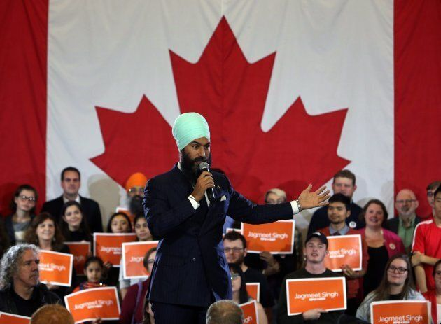 NDP Leader Jagmeet Singh addresses supporters as he kicks off his first cross-country tour at a rally...