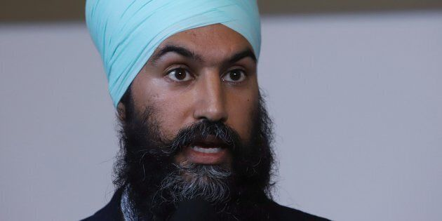 NDP Leader Jagmeet Singh talks to reporters after kicking off his first cross-country tour at a rally...