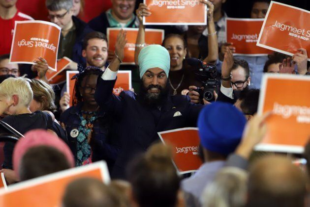 NDP Leader Jagmeet Singh is greeted by supporters as he kicks off his first cross-country tour at a rally...