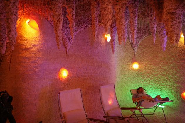 John Montgomery relaxes in the Galos Caves salt cave in Chicago, Illinois. Sessions are purported to...