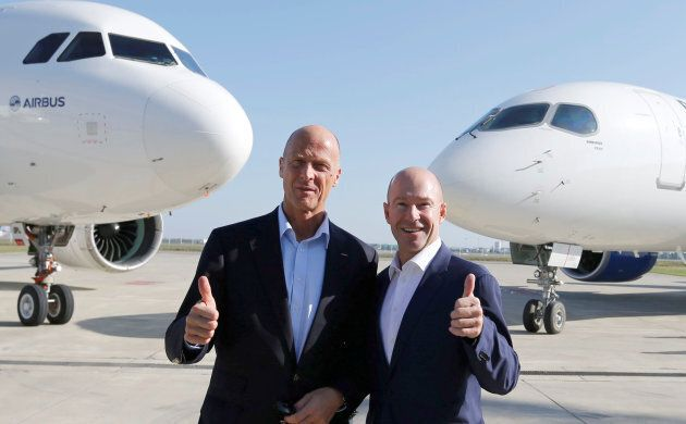 Tom Enders, president and chief executive officer of Airbus, and Alain Bellemare, president and chief...