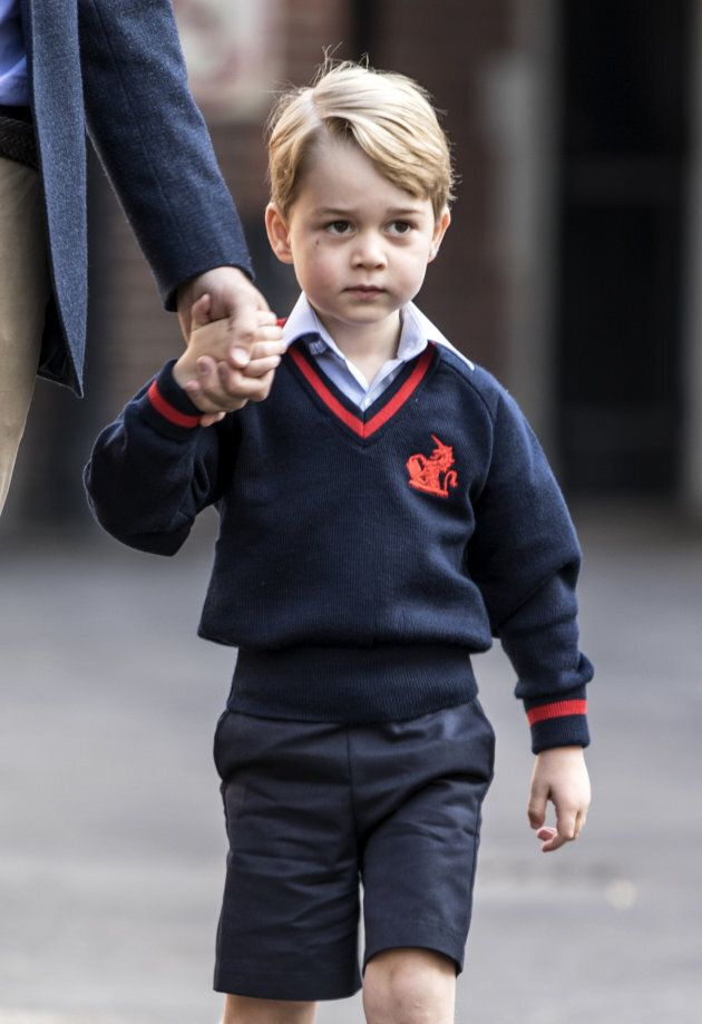 Prince George on his first day of school at Thomas's school in Battersea, southwest London on September 7, 2017.