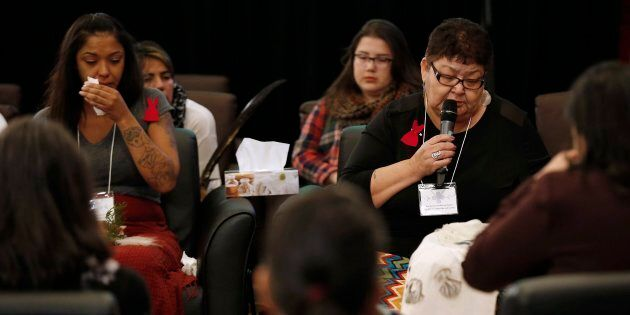 Family members speak at the opening day of Winnipeg hearings at the National Inquiry into Missing and...