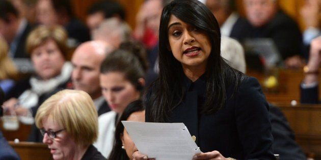 Small Business and Tourism Minister Bardish Chagger stands during question period in the House of Commons...