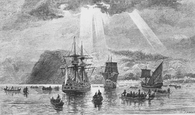 The arrival of French explorer Jacques Cartier (1491-1557) at what is now Quebec.