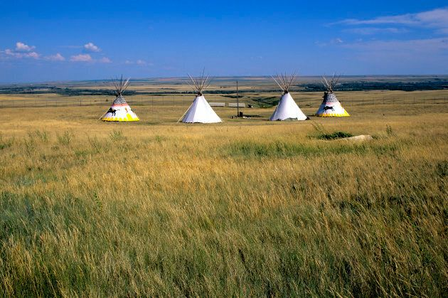Teepees near Fort Macleod, Alta, at Head-smashed-in Buffalo Jump, a Unesco world heritage site.