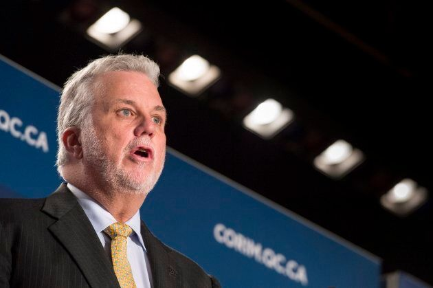Quebec Premier Philippe Couillard delivers a speech on Friday in