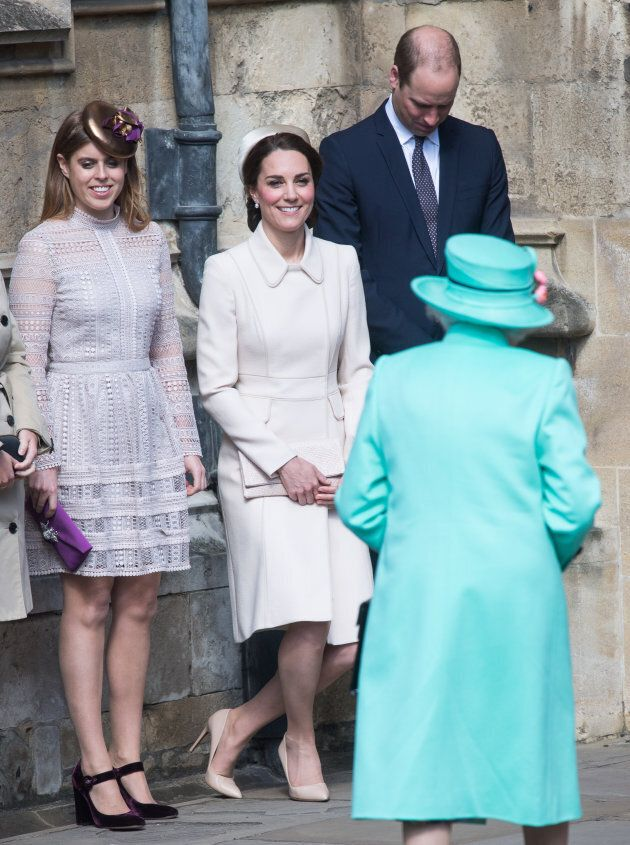 The Duchess of Cambridge curtsies in front of the