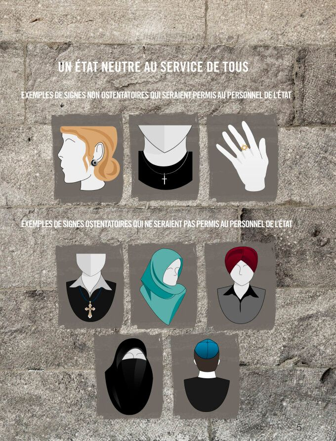 A page from a PDF document released by the Quebec provincial government on Sept. 10, 2013 that shows acceptable symbols (top row) for provincial employees to wear, and non-acceptable symbols for provincial employees to wear (bottom two rows).