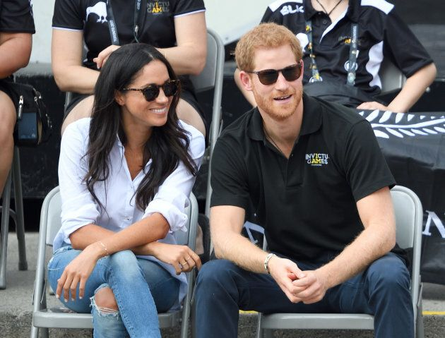 Meghan Markle and Prince Harry attend the Wheelchair Tennis at the Invictus Games on Sept. 25, 2017 in...