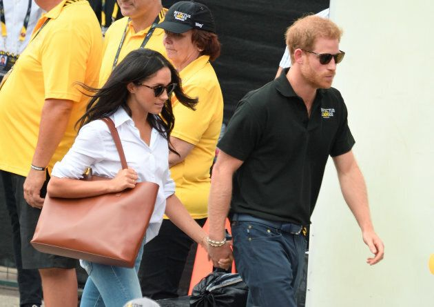Meghan Markle and Prince Harry attend the Wheelchair Tennis at the Invictus Games Toronto 2017 at Nathan Philips Square on Sept. 25, 2017 in Toronto.