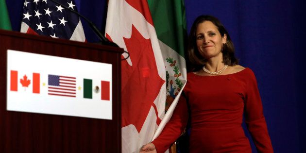 Foreign Affairs Minister Chrystia Freeland arrives at a news conference after a NAFTA trilateral ministerial...