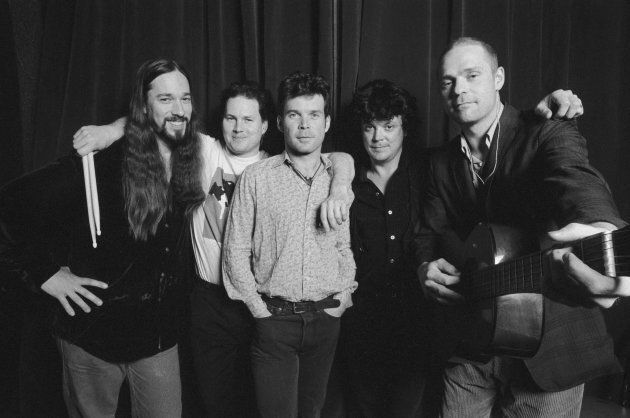Portrait of The Tragically Hip (NOT in order:, Rob Baker, Gord Sinclair, Johnny Fay, Paul Langlois, Gord Downie) backstage at The Fillmore in San Francisco, Calif. in April of 1999.