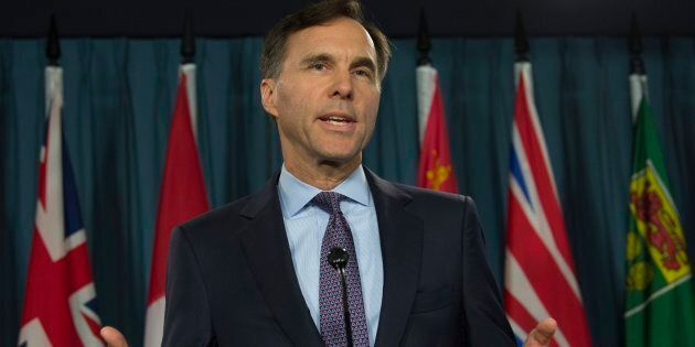 Finance Minister Bill Morneau speaks with the media on Parliament Hill on Oct. 19, 2017.