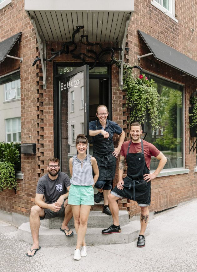L to R: Pascal Bussieres (sommelier and partner), Amelie Pruneau (server), Paul Croteau (Pastry Chef...