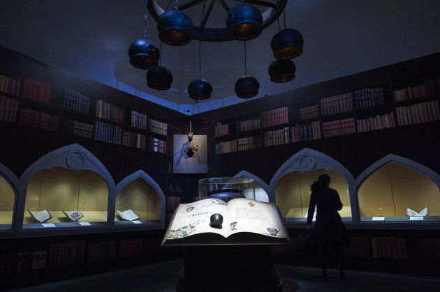 Artefacts and memorabilia are displayed during a preview of 'Harry Potter: A History of Magic' exhibition...