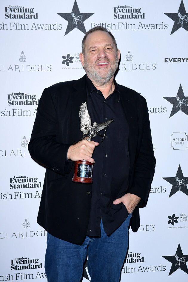 Harvey Weinstein picking with the award for International Film of the Year for Lion at the Evening Standard Film Awards at Claridge's, Brook Street, London.