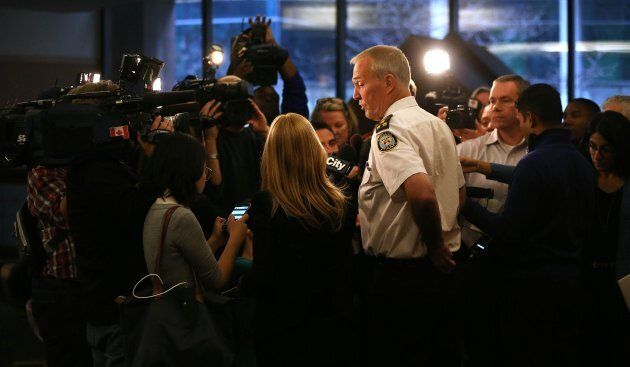 Former Toronto Police Chief Bill Blair scrums with media in Toronto on Nov. 13, 2014.