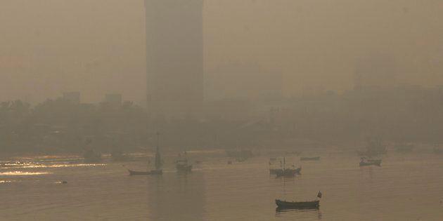 Morning smog shown enveloping the skyline in Mumbai, India on Oct. 20,