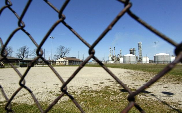 An empty baseball diamond at the Aamjiwnaang First Nation, which sits across NOVA Chemicals in Sarnia,...